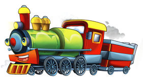 Cartoon steam train - caricature Royalty Free Stock Photo