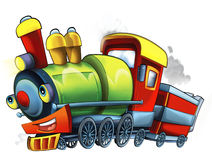 Cartoon steam train - caricature - illustration for the children Royalty Free Stock Image