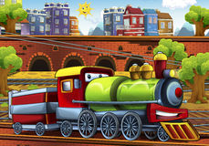 Cartoon steam train - train station Stock Photography