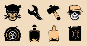 Cartoon steampunk icons. Royalty Free Stock Photo