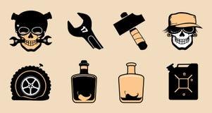 Cartoon steampunk icons. Royalty Free Stock Photo