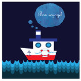 Cartoon with steamship. Text in french Bon voyage means have a good trip Royalty Free Stock Photo