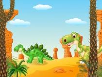 Cartoon stegosaurus with tyrannosaurus with Prehistoric background Royalty Free Stock Photos