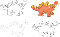 Cartoon stegosaurus. Vector illustration. Dot to dot game for ki Royalty Free Stock Photography