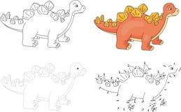Cartoon stegosaurus. Vector illustration. Dot to dot game for ki Royalty Free Stock Photography