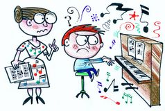 Cartoon of stern piano teacher with reluctant pupil. In this original cartoon, a small boy is learning to play the piano but is reluctant to learn, watched by Royalty Free Stock Photography