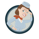 Cartoon Stewardess  Royalty Free Stock Image