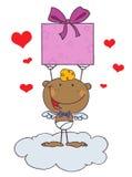Cartoon stick african american cupid Stock Photos