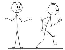 Cartoon of Angry Man Leaving Conversation Vigorously. Cartoon stick drawing conceptual illustration of angry man or businessman leaving vigorously conversation royalty free illustration
