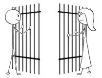 Cartoon of a Couple of Man and Woman Divided by Prison Bars vector illustration