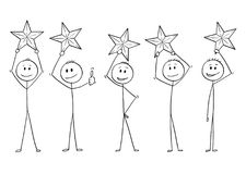 Cartoon of Five Men or Businessmen Holding Stars Above Heads. Cartoon stick drawing conceptual illustration of five men or businessmen, each of them is holding Stock Illustration