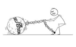 Cartoon of Man or Businessman Pulling Big Iron Ball With Low Self-Esteem Text Chained to His Leg. Cartoon stick drawing conceptual illustration of man or vector illustration