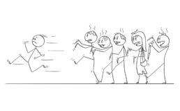 Cartoon of Man Running Away From Crowd of Undead Zombies. Cartoon stick drawing conceptual illustration of man running away from crowd of walking undead zombies stock illustration