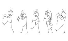 Cartoon of Group of Five Undead Zombies Walking. Cartoon stick drawing illustration of group of five undead zombies walking. Halloween drawing royalty free illustration