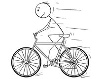 Cartoon of Man Riding on Bicycle. Cartoon stick drawing illustration of man riding or cycling on bicycle royalty free illustration