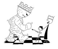 Cartoon of Chess King Endangered by Giant Tower or Rook and Sending Small Pawn to Defend Him in Fight. Cartoon stick figure drawing conceptual illustration of royalty free illustration