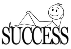 Cartoon of Happy Man Lying on Big Success Letters or Text. Cartoon stick figure drawing conceptual illustration of happy and positive man lying on big letters or stock illustration