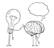 Cartoon Drawing of Lightbulb Characters Taping on Back of Thinking Brain royalty free illustration