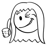 Cartoon of Face of Smiling and Winking Woman or Businesswoman Showing Thumb Up. Cartoon stick figure drawing conceptual illustration of smiling woman or stock illustration