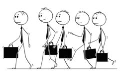 Cartoon of Group or Team of Businessmen With Briefcases Walking stock illustration