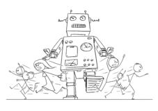 Cartoon Drawing of Crowd of People Running in Panic Away From Giant Retro Robot. Cartoon stick figure drawing illustration of group or crowd of people running in stock illustration