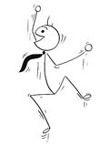Cartoon Stick Figure Illustration of Happy Man Jumping royalty free illustration