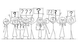 Cartoon Drawing of Group of People Protesting With Question Mark on Signs. Cartoon stick figure isolated drawing or illustration of group or crowd of protesters royalty free illustration