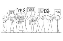 Cartoon Drawing of Group of People Protesting With Yes Signs stock illustration