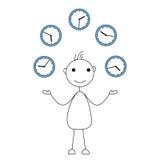 Cartoon stick figure juggling clocks. Royalty Free Stock Photography