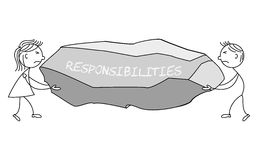 Cartoon stick figures carrying a rock labelled responsibilities. Illustration of cartoon stick figures carrying a rock labelled responsibilities Stock Photography