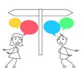 Cartoon stick figures conflict between man and woman Stock Photos
