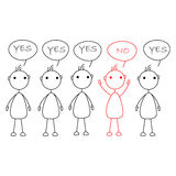 Cartoon stick figures saying yes with one person saying no Royalty Free Stock Images