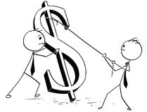 Two Businessmen Erecting Large Dollar Sign Stock Photos