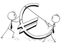 Two Businessmen Erecting Large Euro Sign. Cartoon stick man concept illustration of two business men businessman erecting large euro sign Royalty Free Stock Photography