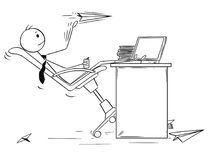 Cartoon of Bored Businessman Throwing Paper Airplanes. Cartoon stick man drawing conceptual illustration of bored businessman throwing paper airplanes at work Royalty Free Stock Images