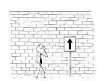 Cartoon of Business Man Looking at Wall Obstacle in his Way. Cartoon stick man drawing conceptual illustration of business man looking at high wall standing as Royalty Free Stock Images