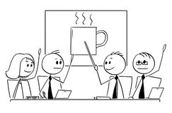 Cartoon of Business Team or People Meeting Voting for Coffee Break. Cartoon stick man drawing conceptual illustration of business team or people meeting. All Stock Photo