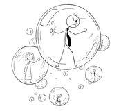Conceptual Cartoon of Business people Imprisoned Inside the Glass Bubbles. Cartoon stick man drawing conceptual illustration of businessman and businesswoman or Stock Image