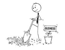 Cartoon of Businessman Digging a Hole for Plant with Business Sign. Cartoon stick man drawing conceptual illustration of businessman digging hole to plant a tree Stock Photography
