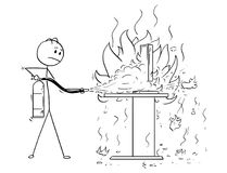 Cartoon of Businessman Fighting the Fire on Office Desk Using Extinguisher. Cartoon stick man drawing conceptual illustration of businessman fighting the fire on Royalty Free Stock Photo
