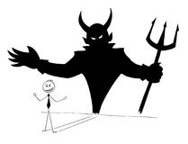 Conceptual Cartoon of Businessman and His Devil Inside Shadow. Cartoon stick man drawing conceptual illustration of businessman and his devil inside shadow on Royalty Free Stock Image