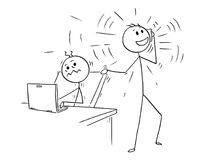 Cartoon of Office worker Disturbed but Phone Calling Colleague. Cartoon stick man drawing conceptual illustration of businessman or office worker disturbed by Stock Photography