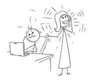 Cartoon of Office worker Disturbed but Phone Calling Colleague. Cartoon stick man drawing conceptual illustration of businessman or office worker disturbed by Stock Photo