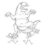 Cartoon of People or Businessmen Running Away From Monster Dinosaur Godzilla Creature. Cartoon stick man drawing conceptual illustration of businessman panicked Royalty Free Stock Images