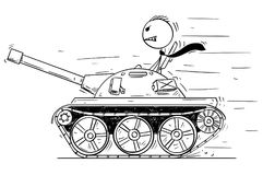 Cartoon of Businessman or Politician in Small Tank. Concept of War as Game. Cartoon stick man drawing conceptual illustration of businessman or politician in Royalty Free Stock Photos