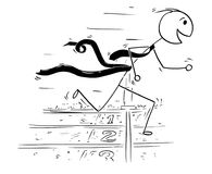 Conceptual Cartoon of Businessman Running at the Finish Line Rac. Cartoon stick man drawing conceptual illustration of businessman running at the finish line Stock Images