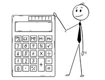Cartoon of Businessman Standing With Big Electronic Calculator. Cartoon stick man drawing conceptual illustration of businessman standing with big electronic stock illustration