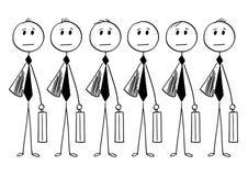 Conceptual Cartoon of Identical Businessmen or Clerks. Cartoon stick man drawing conceptual illustration of crowd of identical businessman or clerk clones Royalty Free Stock Photos