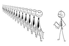 Conceptual Cartoon of Identical Businessmen and Individuality. Cartoon stick man drawing conceptual illustration of crowd of identical businessmen or clerks Stock Images