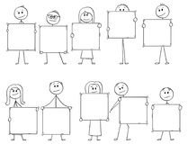 Cartoon of Ten Businessmen and Businesswomen Holding Empty Signs for Letters or Numbers. Cartoon stick man drawing conceptual illustration of crowd or team or Stock Photography